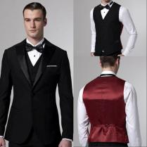 Custom Made Wedding Suit For Men Black Groom Tuxedos Slim Fit Two