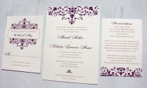 Dark Purple Elegant Scrollwork Wedding Invitations