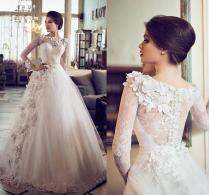 Discount 2016 Designer Arabic Dubai Lace Wedding Dresses Muslim