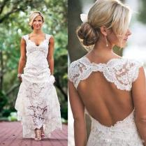 Discount 2017 Full Lace Wedding Dresses Country Style Pluging V