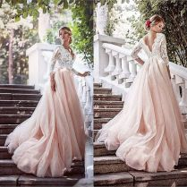 Discount Elegant Blush Wedding Dresses 2017 Lace Top A Line Tulle
