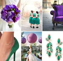 Emerald Green And Purple Wedding Inspiration Board