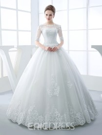 Ericdress Beautiful Illusion Neckline Ball Gown Princess Wedding