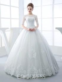 Ericdress Beautiful Illusion Neckline Ball Gown Princess Wedding