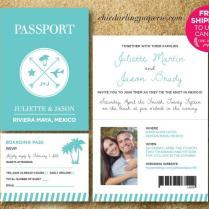 Free Shipping Printed Or Digital Passport Wedding Invitation Rsvp