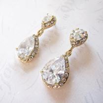 Gold Vintage Wedding Earrings, 1920s Earrings, Gold Bridal