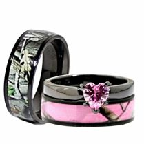 Good Pink Camo Wedding Rings 7