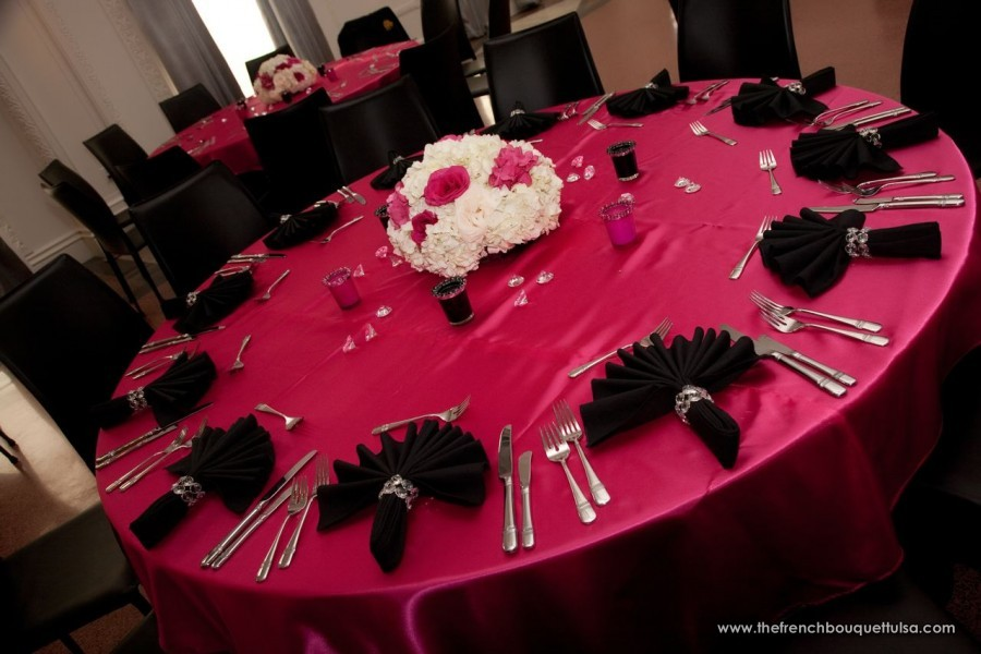 Hot Pink And Black Wedding