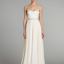 Ivory Silk Georgette Grecian Draped Bridal Gown With Crystal