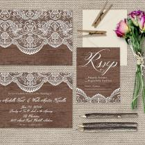 Lace & Wood Wedding Invitations Shabby Chic Weddings Or Rustic