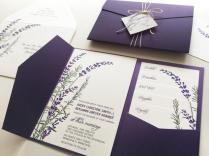 Lavender Wedding Invitation Sample, Purple Pocketfold Tags Twine