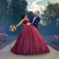 Modest Plus Size Burgundy Wedding Dresses With Color Sweetheart