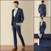 Most Fashion ! 2015 Teen Men's Wedding Wear Navy Blue Two Buttons