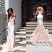 Myriam Fares Sexy 2015 Mermaid Wedding Dresses Pink White