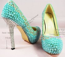 New Handmade Designer Shoes Ladies High Heel Aqua Wedding Shoes