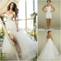 Onw145 Two Piece Design Tulle Lace Front Short Long Back Wedding