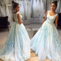 Oumeiya One393 Light Blue And Cream Two Color Formal Lace Evening