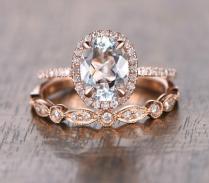 Oval Aquamarine Diamond, Halo Engagement Ring, Rose Gold Art Deco