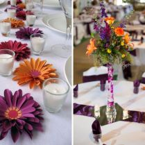 Perfect Purple And Orange Wedding Table Decorations 70 With