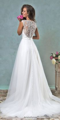 Picture Of Chic Wedding Dress With A Lace Back And Jeweled Buttons