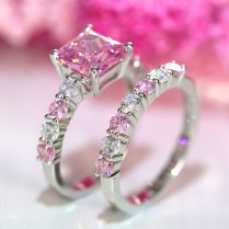 Pink Diamond Wedding Ring Womens Princess Cut Lab Created Pink