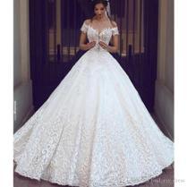 Princess Castle Ball Gown Lace Wedding Dress Deep V Neck Open Back