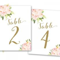 Printable Table Numbers Floral, Floral Table Numbers, Boho Floral