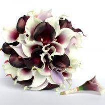 Purple Calla Lily Wedding Bouquet , Dark Plum Purple , Piscasso
