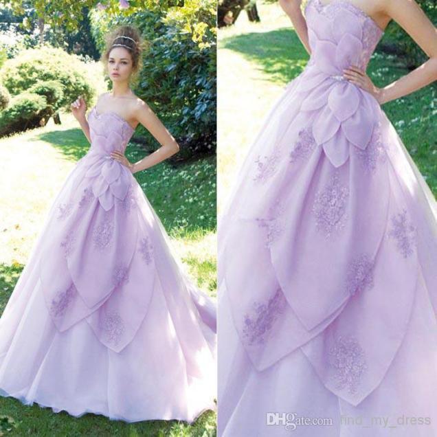 Purple Wedding Dresses Discount New Unique Style A Line Purple