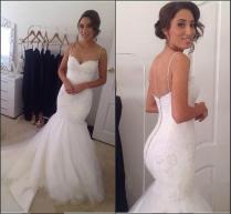 Real Image 2015 Spring Wedding Dresses Garden Train Spaghetti