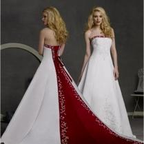 Red And White Wedding Dresses Strapless Red And White Wedding