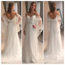 Romantic Bohemian Wedding Dresses With Batwing Sleeve 2016 Sexy