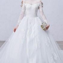 Shop Discount Long Sleeve Organza Sweetheart Ball Gown Chapel
