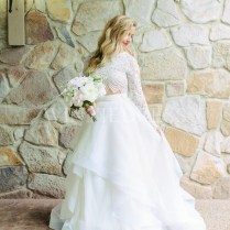 Shop Discount Stunning Two Piece Long Sleeve Organza Ball Gown