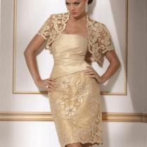 Short Gold Lace Wedding Dresses