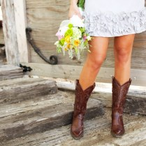 Short Wedding Dress And Cowboy Boots