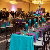 Teal, Purple, And Gold Wedding Reception Decor