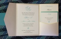 Tiffany Blue & Champagne Starfish And Monogram Pocketfold Wedding