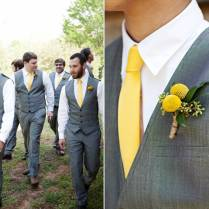 Tn Groom And Groomsmen Wear Grey Tailored Suits And Sunny Yellow Ties
