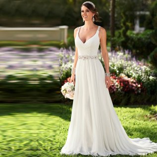 Vestidos De Novia Sexy Flowing Chiffon Wedding Dress Vintage Boho