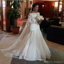 Vintage Arabic Mermaid Wedding Dresses For Black Women Illusion