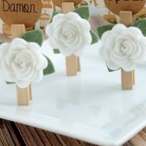 Wedding Card Design Artificial White Rose Flower Wooden