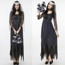 Wedding Dress Halloween Costume Bride Lace Long Sleeve Tulle Black