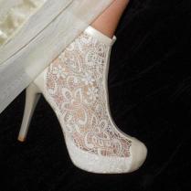 Wedding Shoes, Handmade French Guipure Lace Wedding Ivory Shoe