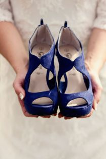 Wedding Shoes Ideas Back Zipper Open Toes Suede Navy Blue 2 Inch
