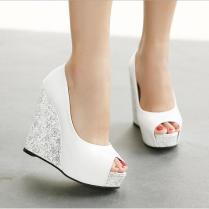 Wedge Wedding Shoes In Stock 2016 Cheap High Wedge Heel White Blue