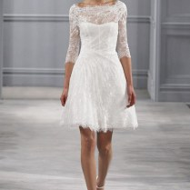 White Short Lace Wedding Dress With Long Sleeves