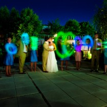 With Glow Sticks At Wedding Reception
