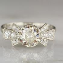 1 75ctw Edwardian Art Deco Platinum Engagement Ring With 1 5ct