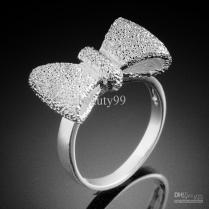 925 Silver Steel Fashion Costume Jewelry Rings Bow Shape Jewelry